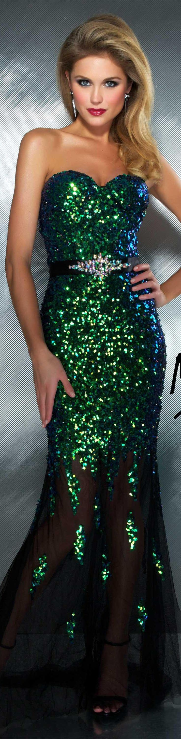 Mac Duggal couture dress peacock strapless long formal dress Don't usually like green, but this is gorgeous.