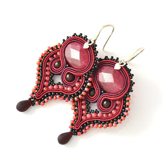 Heart soutache earrings silver burgundy jade by PikLusSoutache