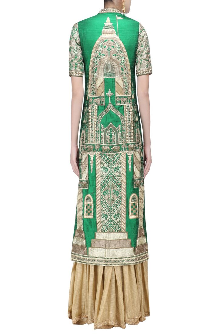 a green front open jacket in raw silk base with silver and gold zari, zarodozi and beads embroidery all over the front and back. It is paired with gold floral embroidered raw silk blouse and palazzo pants.