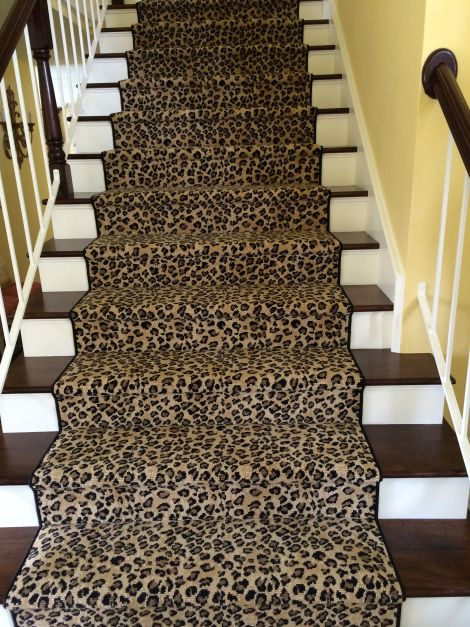 A project that we installed in Yorba Linda, CA.  Great looking wool leopard print carpet.  Our showroom offers a variety of animal prints styles in nylon, wool or olefin.  We offer animal print that can be installed wall to wall, fabricated into area rugs or made into stair runners.  Brands include Karastan, Stanton, Nourison, Bellbridge, Kane, Royal Dutch, Prestige Mills, Concepts International and more.  Purchase at Hemphill's Rugs & Carpets Orange County, CA