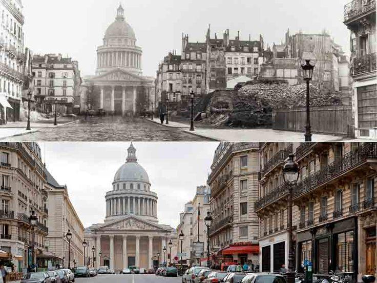 La rue Soufflot en 1877 et aujourd'hui. La perspective n'existait pas au début du XIXe siècle et la rue portant le nom de l'architecte du Panthéon s'achevait en cul-de-sac  au niveau de la rue Saint-Jacques. Son allongement vers Saint-Michel commença sous le second Empire.