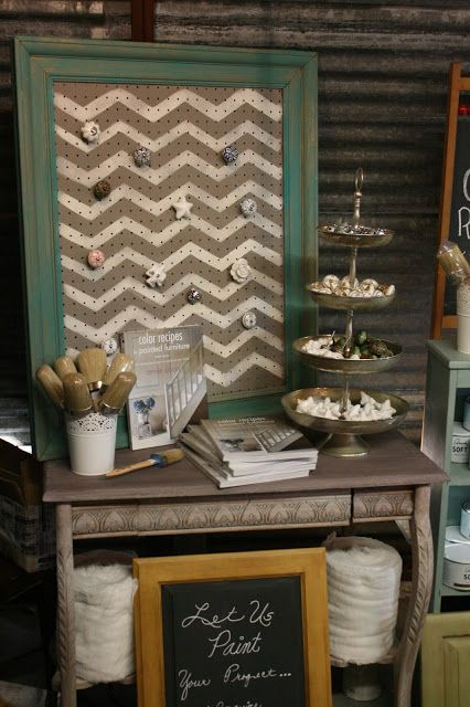 Cute pegboard display! Great idea for hanging jewelry!