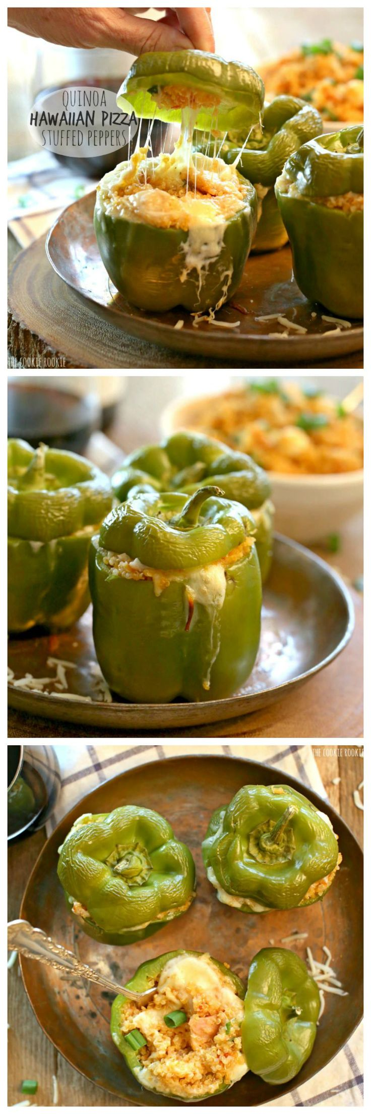 Quinoa Hawaiian Pizza Stuffed Peppers are a healthy and delicious meal or side dish! AMAZING   The Cookie Rookie