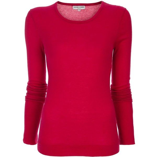 ADAM JONES Long sleeved top ($235) ❤ liked on Polyvore featuring tops, shirts, red, blusas, camisas, extra long sleeve shirts, pink long sleeve top, red long sleeve top, red long sleeve shirt and long sleeve tops
