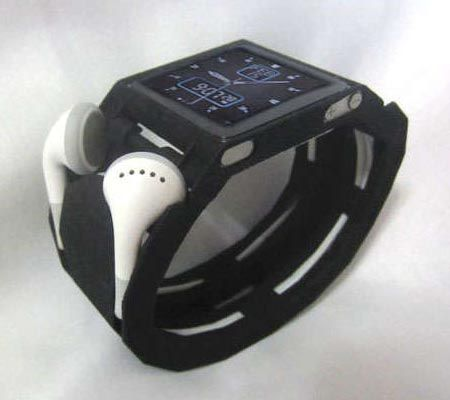 3D Printed iPod Nano Watch Band.  I don't use either a nano as a watch or ear buds, but the concept is cool.