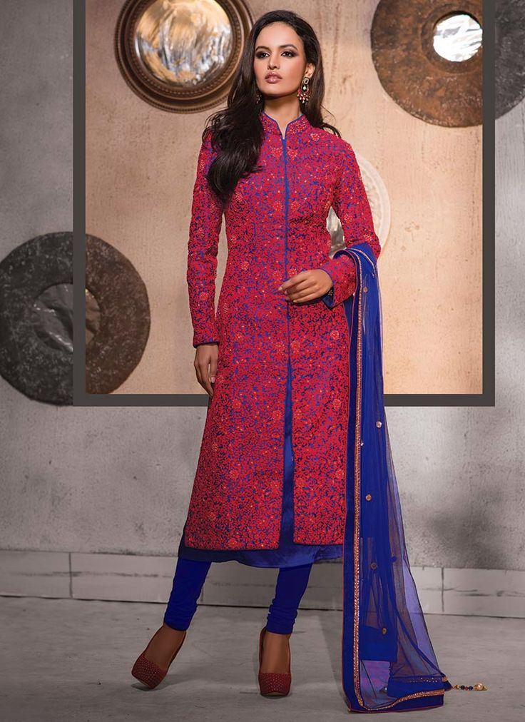 Pure Raw Silk Heavy Embroidered Straight Suit
