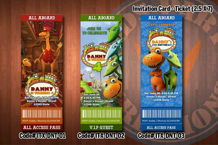 "DINOSAUR TRAIN Invitation - Printable Ticket Invitation for Dinosaur Train Birthday Party (2.5""x7""). $7.99, via Etsy."