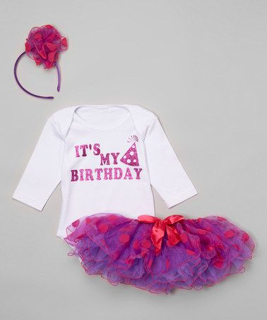 Another great find on #zulily! Pink & Purple Party Hat Tutu Set - Infant #zulilyfinds