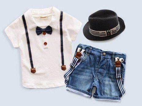 Envío libre al por menor niños pequeños muchachos ocasionales del verano ropa se visten sombrero + camisa + pantalones tres juegos de ropa de chicos trajes en Conjuntos de Ropa de Bebés en AliExpress.com   Alibaba Group