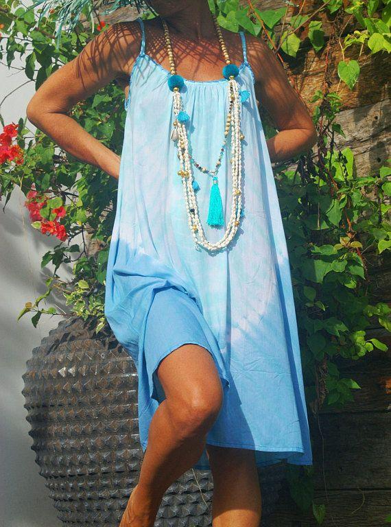 Summer Tie Dye Short Dress/Beach wear/Beach dress/Bohemian Short dress/ * VIVIAN SHORT DRESS