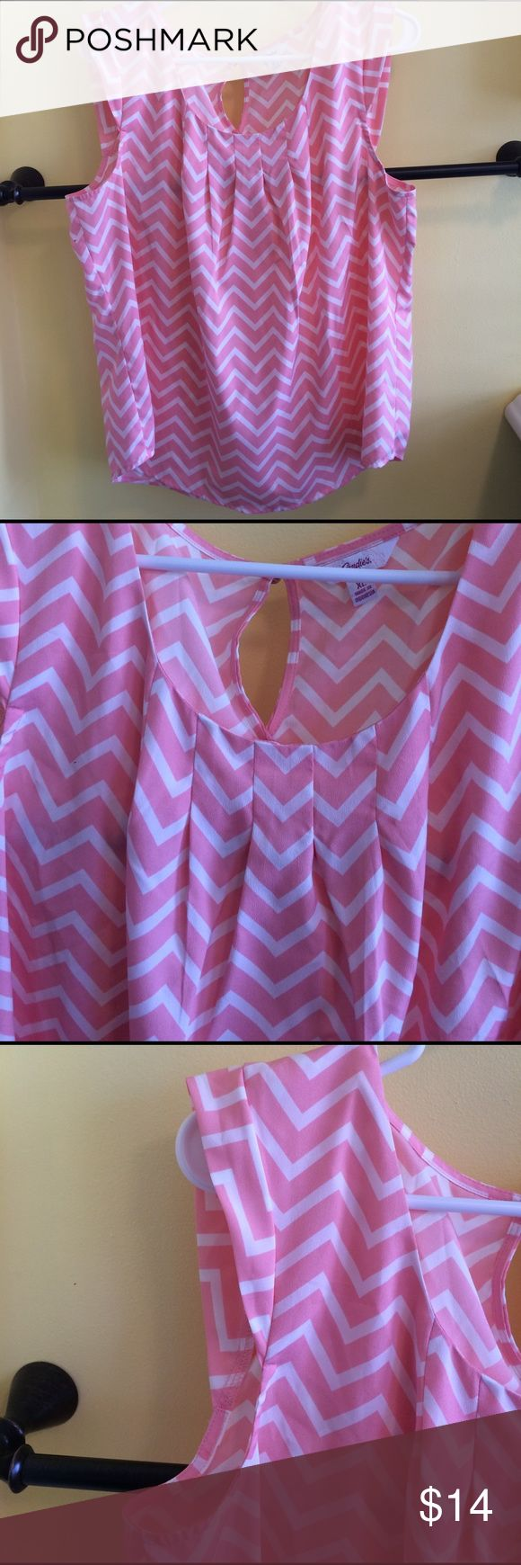 Pink chevron blouse Lightweight pink and white chevron blouse. Excellent used condition Candie's Tops Blouses