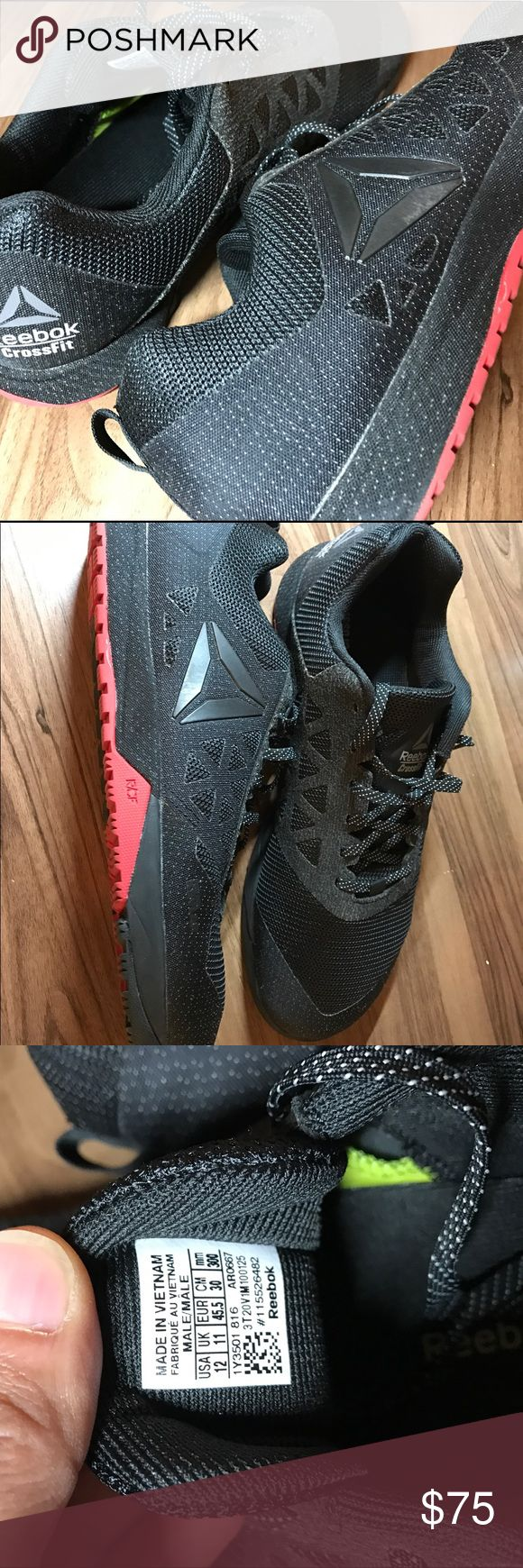 CrossFit Nanos 6.0 Black/Red - Men's Size 12 Lightly used, less than 5 times, just too small and don't fit me, comes with box and all original content. Whether you CrossFit or not, these are fantastic shoes at a great price! Reebok Shoes Athletic Shoes