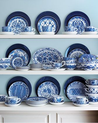 Traditional Blue & White Dinnerware at Horchow - these are my everyday dishes ...love them!  It is a 12 place setting package, each plate is a different pattern.