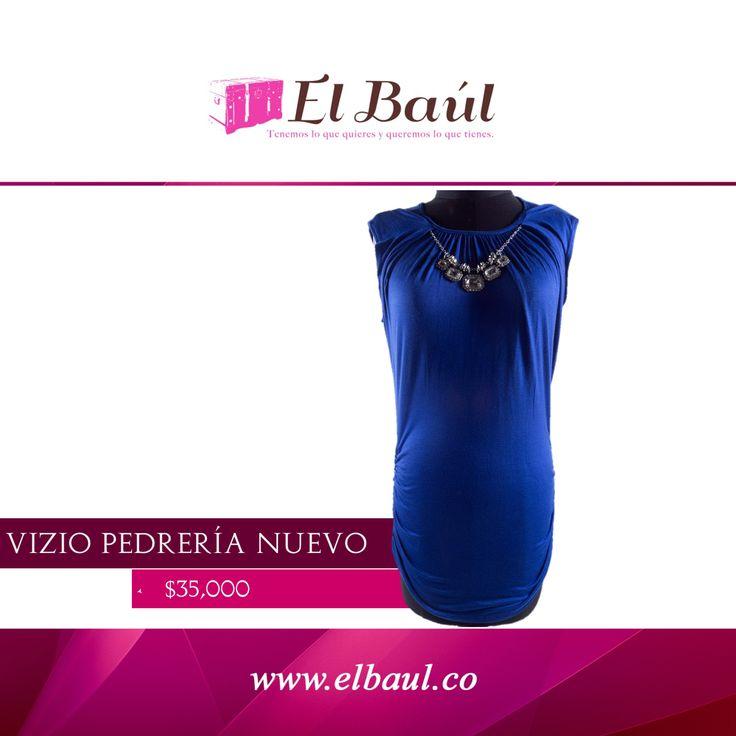 Vizio con pedrería magnífico muy elegante para fiestas de noche. $35,000 http://elbaul.co/Productos/1147/Vizio-azul-rey-con-pedrer%C3%ADa-NUEVO-