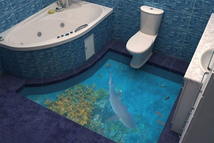 By using angled photos and multiple transparent layers, the floors allow wealthy homeowners to turn their rooms into the ocean floor or an incredible beach scene