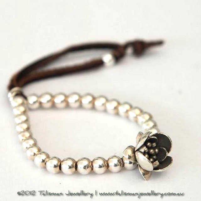 Silver Boho Bracelet with Lotus Flower : Talisman Jewellery Online, Affordable Luxuries