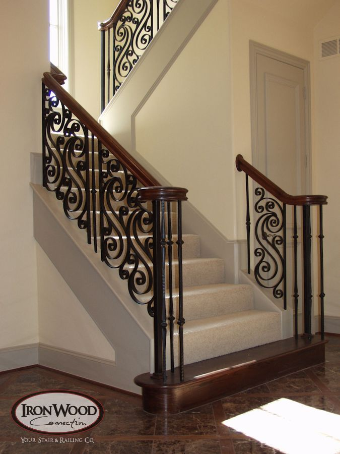This Custom Staircase Design Was Created Using Our Stock Gothic Series Balusters And O Staircase Railing Design Wrought Iron Stair Railing Stair Railing Design