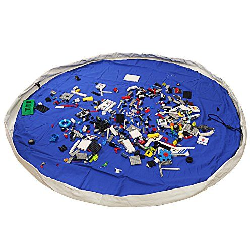 NEWSTYLE Children's Play Mat and Toys Storage Bag, Large 60 Inches Diameter Multi Purpose Kid's Activity Mat and Toys Organizer, Sturdy Canvas Material, Blue * Details can be found by clicking on the image.