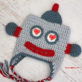 Crochet Lovebot Robot Hat