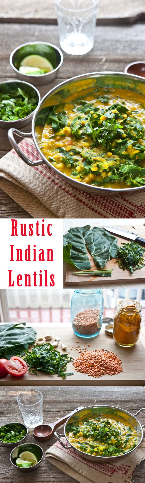 Such a great and simple recipe. Rustic Indian lentils with collard greens. A vegetarian-friendly dinner hit!