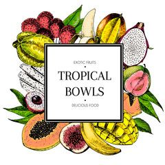 Vector hand drawn smoothie bowls poster. Exotic engraved fruits. Colored icons in square bodrer. Banana, mango, papaya, pitaya, guava, lychee, fig, carambola, pitahaya.