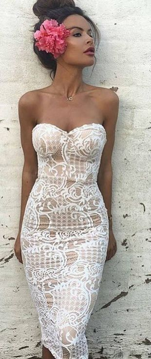 White Lace Off The Shoulder Dress                                                                             Source