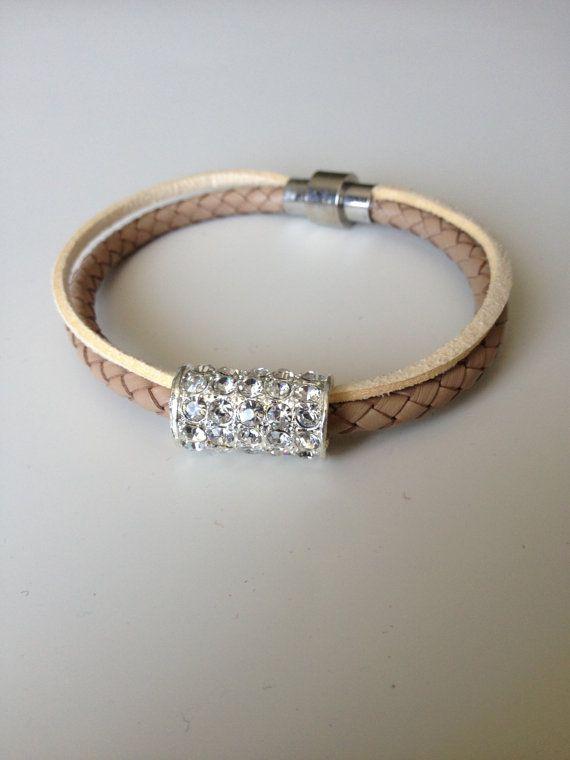 Beige Suede Leather Bracelet Magnet Clasp - Crystal and Beige Leather Bracelet - Crystal Leather Braided Bracelet -