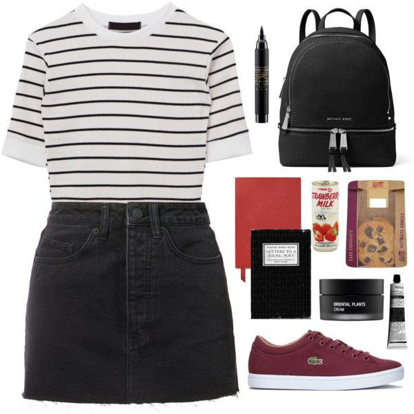 A fashion look from August 2017 featuring Ksubi mini skirts, Lacoste sneakers and MICHAEL Michael Kors backpacks. Browse and shop related looks.