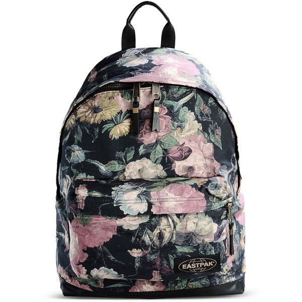Eastpak Backpack ($52) ❤ liked on Polyvore featuring bags, backpacks, black, day pack backpack, flower print backpack, leather rucksack, black leather backpack and floral backpack