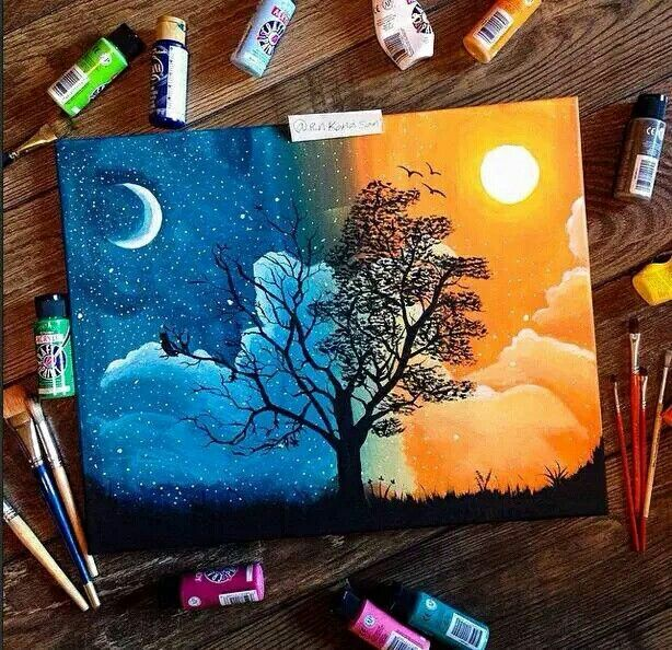 Opposites, tree painting sun and moon.