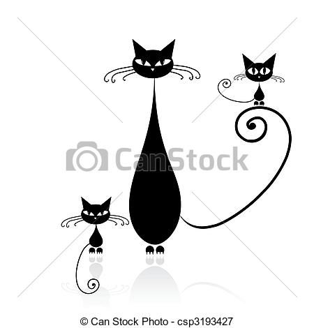 Vector - Black cat silhouette for your design - stock illustration, royalty free illustrations, stock clip art icon, stock clipart icons, logo, line art, EPS picture, pictures, graphic, graphics, drawing, drawings, vector image, artwork, EPS vector art