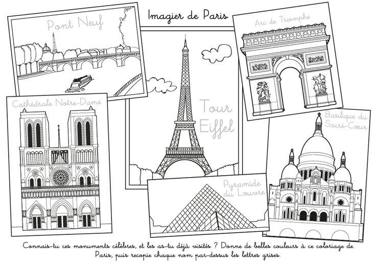 """Coloriage à imprimer : Imagier de Paris                                                                                                                                                <button class=""""Button Module borderless hasText vaseButton"""" type=""""button"""">       <span class=""""buttonText"""">                          Plus         </span>          </button>"""