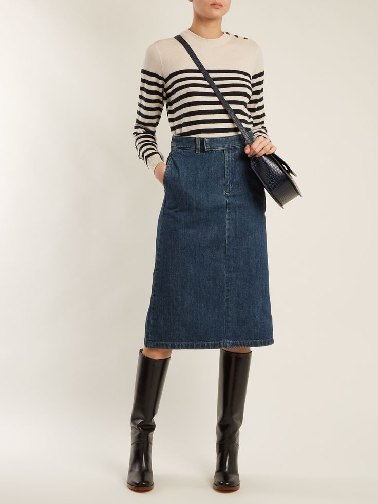 Petra striped wool sweater / Constance high-rise denim midi skirt / Violaine block-heel leather knee-high boots / Genève crocodile-effect leather cross-body bag (A.P.C.)