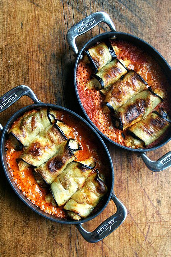 Eggplant Involtini - ricotta stuffed eggplant rolls
