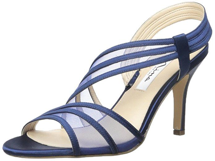 I love these navy blue womens shoes.  They are trendy, stylish and cute.  I can think of several outfits I would wear  this with.  I can dress up or down an  outfit easily with a pair of these awesome shoes.  Easily one of my favorite pairs of dark blue  women's shoes! #blue #navyblue #shoecrazy    Nina Women's Vitalia Dress Sandal, Ls- Black, 6.5 M US