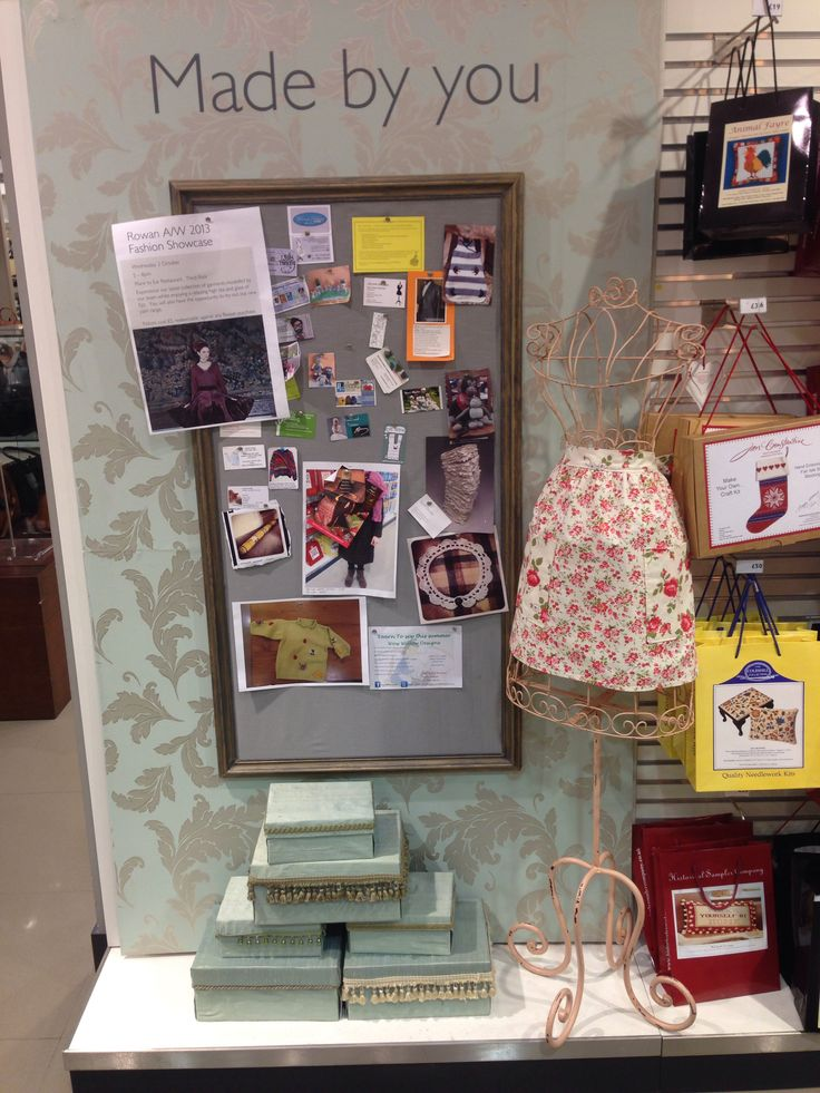 Haberdashery display with a notice board where local businesses can ...