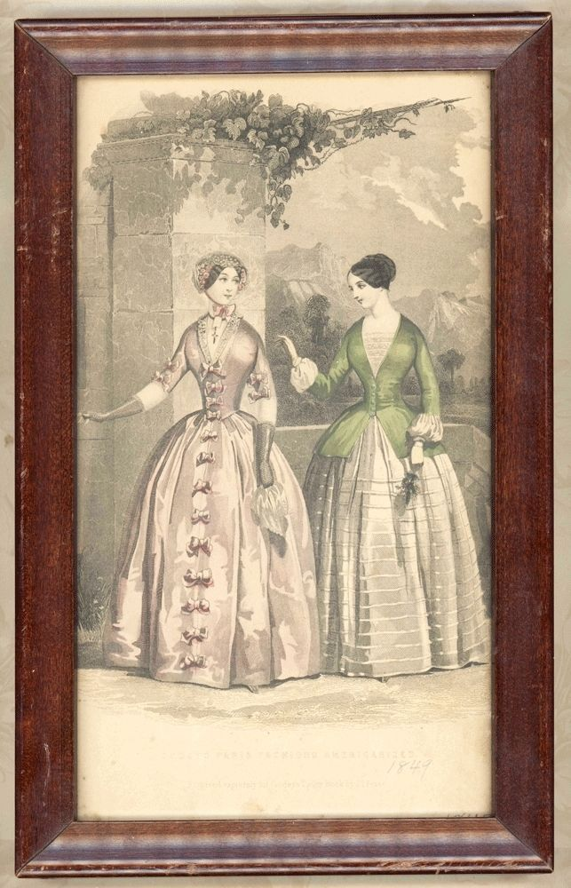 Antique Framed 1849 Print Godey Ladies Book Victorian Fashion Hand Colored 7x11 #Godey