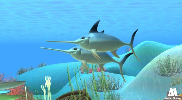 Pez espada, dibujos de animales, animales del mar - Dibujos educativos Alex