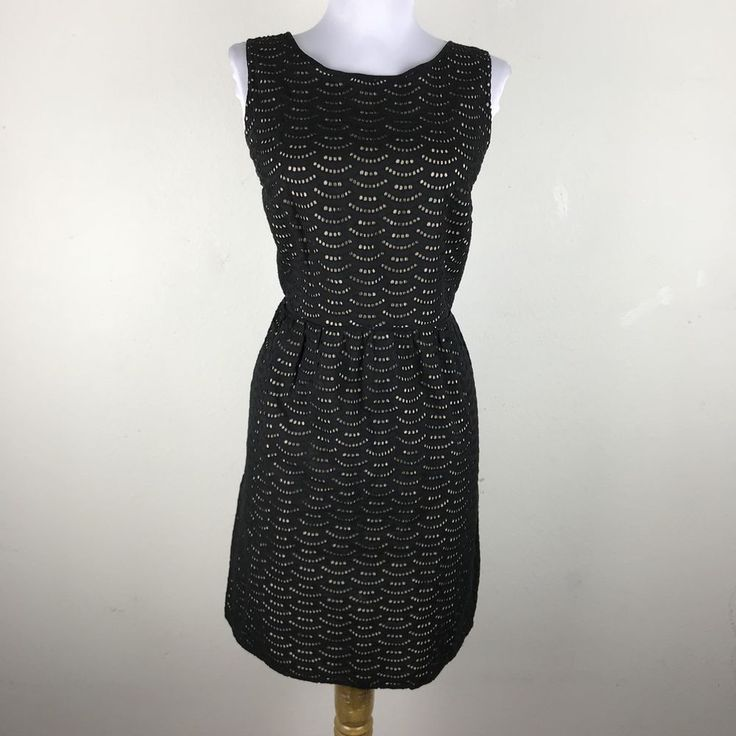 Ann Taylor Loft Dress Size 6 Black Beige Eyelets Sheath Career Work Sleeveless  #AnnTaylorLOFT #SheathDress #Work
