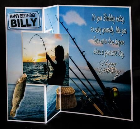 Fishing Male on Craftsuprint created by Carole Keeble - I printed out the sheet onto glossy paper and added to my cardstock. I then added my own topper pic on the front (as my recipient is a sea fisher). I added my own sentiment on the front. A card I have made a few times now, and has been received really well :-)