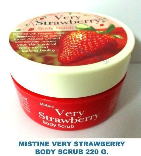 2x Mistine Very Strawberry Whitening Lightening Exfoliating Body Scrub 220 G. Free Shipping From Thailand . $65.00. Brand : MISTINE  Product Size : 220 g. Condition : Brand new & Never used with a seal pack     MISTINE VERY STRAWBERRY BODY SCRUB    Decription :          Enriched with Fragaria Vesca (Strawberry) Fruit Extract, Sweet Almond oil and Dermawhite restores your skin's natural radiance and looking healthy. This special formula shower scrub is suitable for sensitiv...