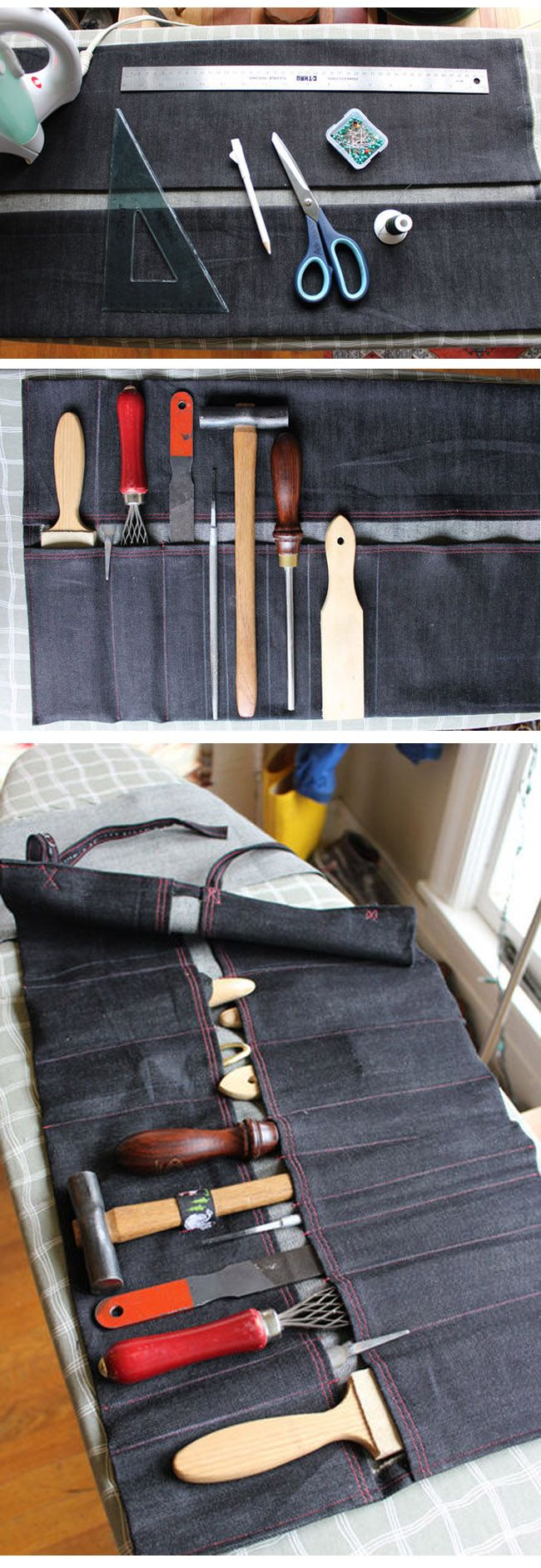 How to make a tool roll   #diy  #instructables    http://instructables.com/id/How-to-make-a-tool-roll-bring-your-hand-tools-with/