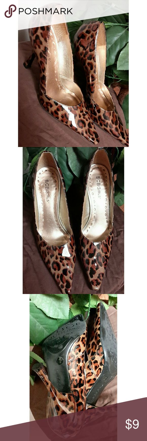 BCBGirls Leopard Print Heels Size 6. Heel has some scuff marks and scratches. Scratches on inside and bottom of heels. Questions are welcomed. BCBGirls Shoes Heels