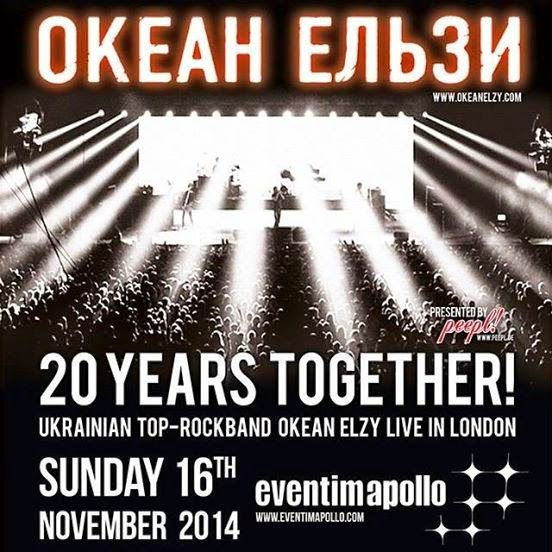 Okean Elzy: '20 Years Together' Tour - New date in London... http://okeanofemotions.blogspot.fr/2014/08/okean-elzy-20-years-together-tour-new.html