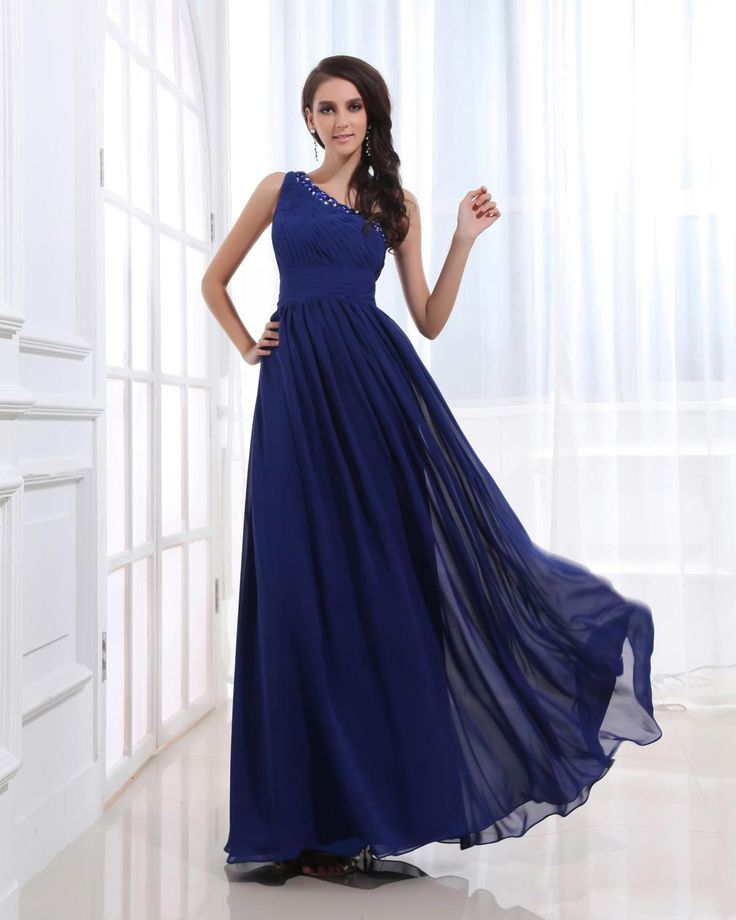 Beaded Chiffon One Shoulder Ankle Length Dress