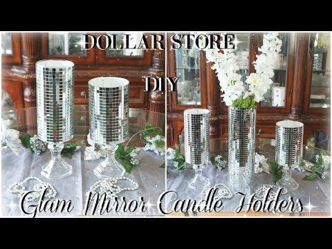 (6) DIY DOLLAR STORE | GLAM MIRROR CANDLE HOLDERS | DIY BLING ROOM DECOR | DOLLAR STORE DIY HOME DECOR #DIYHomeDecorDollarStore