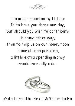 Details About 50 Wedding Honeymoon Money Request Poem Cards