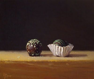 "Daily Paintworks - ""Still Life with Chocolate Truffles"" - Original Fine Art for Sale - © Abbey Ryan"