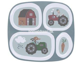 Sebra melamin tallerken, rumdelt, Farm dreng