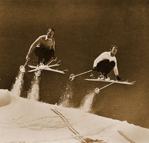 Vintage Ski Decor | Vintage Ski Photo - Two Skiers Jumping